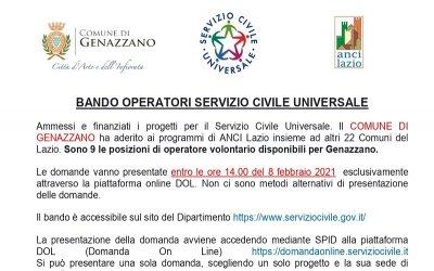 BANDO OPERATORI SERVIZIO CIVILE UNIVERSALE