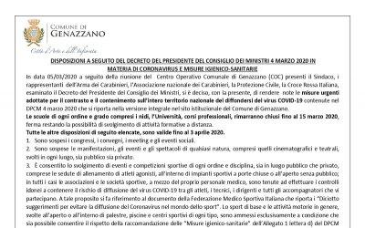 DISPOSIZIONI A SEGUITO DEL DECRETO DEL PRESIDENTE DEL CONSIGLIO DEI MINISTRI 4 MARZO 2020...