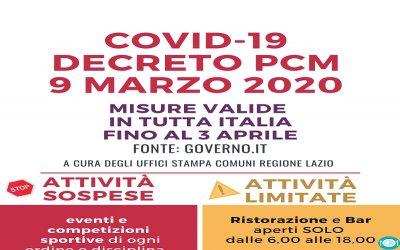 Nuovo DPCM 9 Marzo 2020 - COVID-19