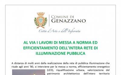 AL VIA I LAVORI DI MESSA A NORMA ED EFFICIENTAMENTO DELL'INTERA RETE DI ILLUMINAZIONE PUBBLICA