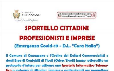 """SPORTELLO CITTADINI PROFESSIONISTI E IMPRESE  (Emergenza Covid-19 - D.L. """"Cura Italia"""")"""
