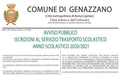 AVVISO PUBBLICO ISCRIZIONI AL SERVIZIO TRASPORTO SCOLASTICO ANNO SCOLASTICO 2020/2021